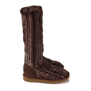 UGG Brown Knit & Sheepskin Boots Women's Size 6